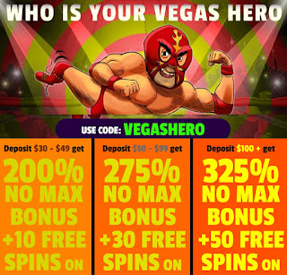 VEGASHERO bonus coupon from Slots of Vegas casino