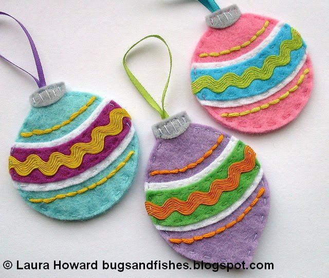 Bugs And Fishes By Lupin: 16 Free Felt Christmas Ornament