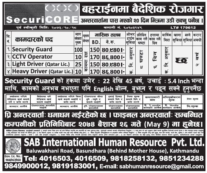 Jobs in Bahrain for Nepali, Salary Rs 46,400
