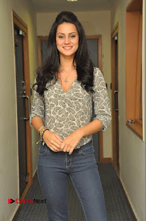 Actress Larissa Bonesi Pictures in Jeans at Big FM For Thikka Movie Promotions  0008