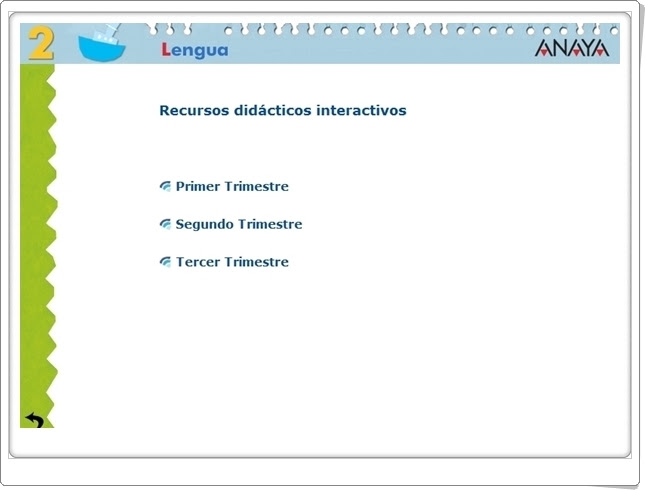 Recursos Didácticos Interactivos Anaya. Lengua Española de 2º de Primaria. (Abre la puerta)