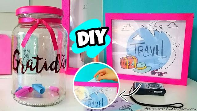 ideias com pote de vidro e papelão