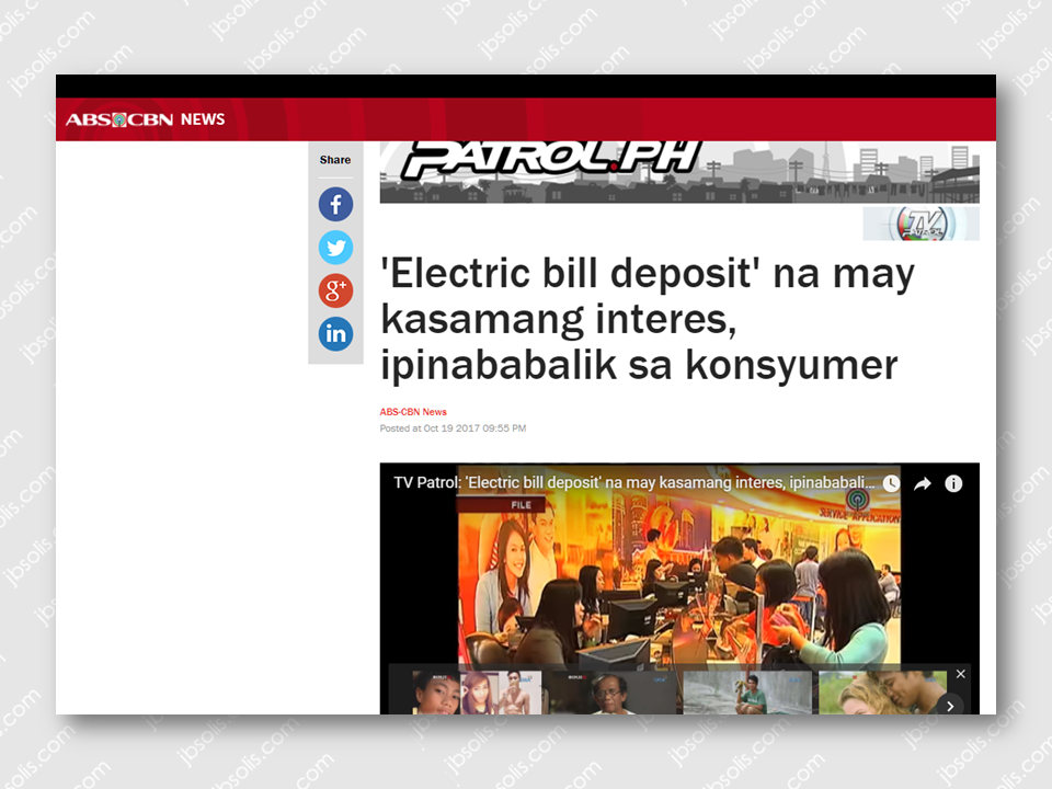 "The energy Regulatory Commission (ERC) wanted that the bill deposit amount will be included in the consumers electric bill including interests from previews years.  All electricity consumers must pay the deposit equivalent to the average monthly electricity consumption which is called  the ""bill deposit"". In the case of  Meralco, because the consumers deposit gain interests over the years, it is being updated every year in order to refund the excess payment or collect additional deposit should the customer consumption increase. But the ERC wants that the interest of the bill deposit be ""compounded"". For example, if the deposit will be P1,000 and the interest is 1%, it has to be P1,010 in the first year and P1,020 for the succeeding year due to interest. The ERC also requires that the bill would reflect the exact bill deposit of every consumer. The bill deposit of consumers who religiously pay their bill on time for the period of 3 consecutive years could also be refunded. Sponsored Links  Atty. Rexie Baldo-Digal, ERC spokesperson said that they require that the bill deposit summary must be submitted within 60 days. Meralco said, through their spokesperson Joe Zaldarriaga, that they will comply and follow the final rules The ERC also wanted to find out if the cooperatives has secured records of consumer deposits and how much are the interests earned from it. The ERC will wait for the statement from the stake holders including consumers, various groups and cooperatives until October 31 before the new rule will be finally released. Source: ABS-CBN   Advertisement Read more:        ©2017 THOUGHTSKOTO"