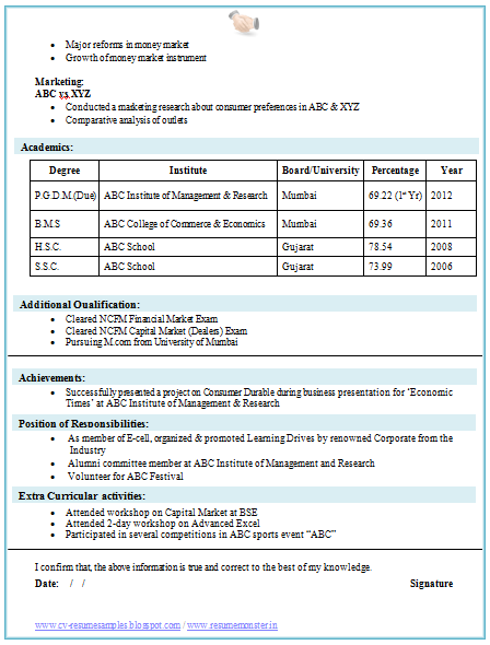 Resume Format For Diploma In Computer Science