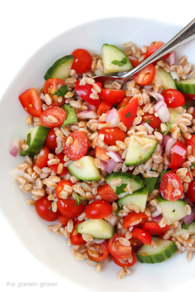 The Garden Grazer: Greek Farro Salad (Vegan!)