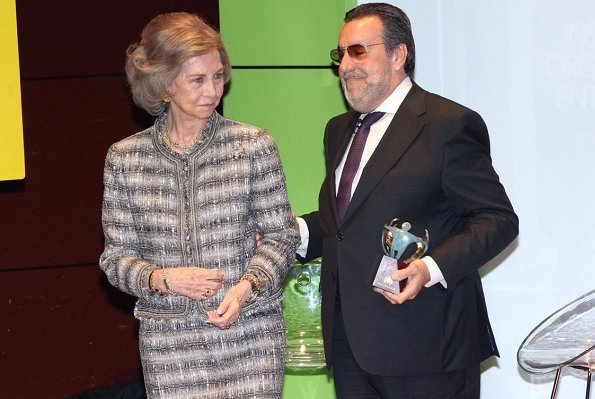Queen Sofia received the award from President of Social Group of ONCE, Miguel Carballeda of at The Queen Sofía Museum in Madrid.