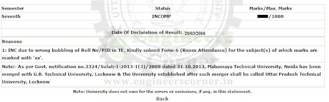 UPTU/AKTU PTNS, PCP, PCP-A, PWG, INC, XX, UFM status of