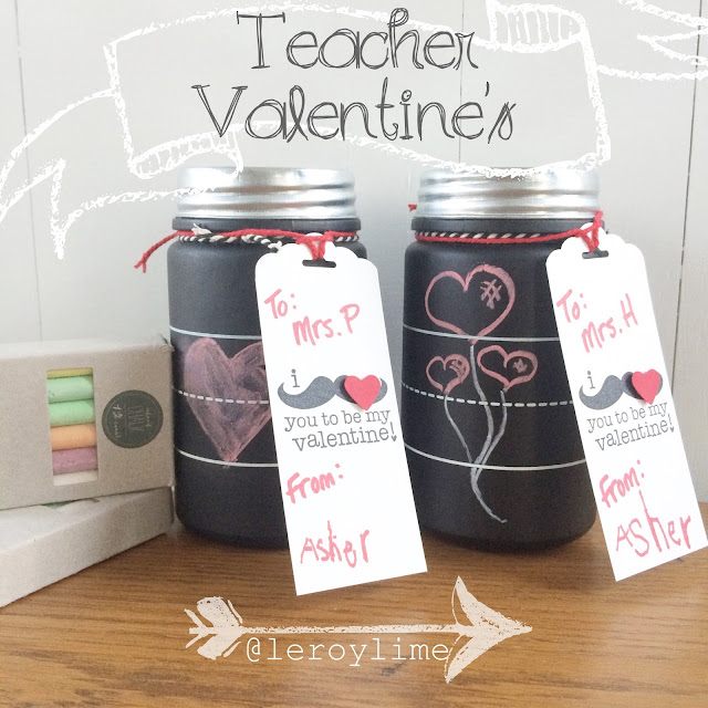 Teacher Valentine's Day Gifts - Chalkboard Jars - LeroyLime