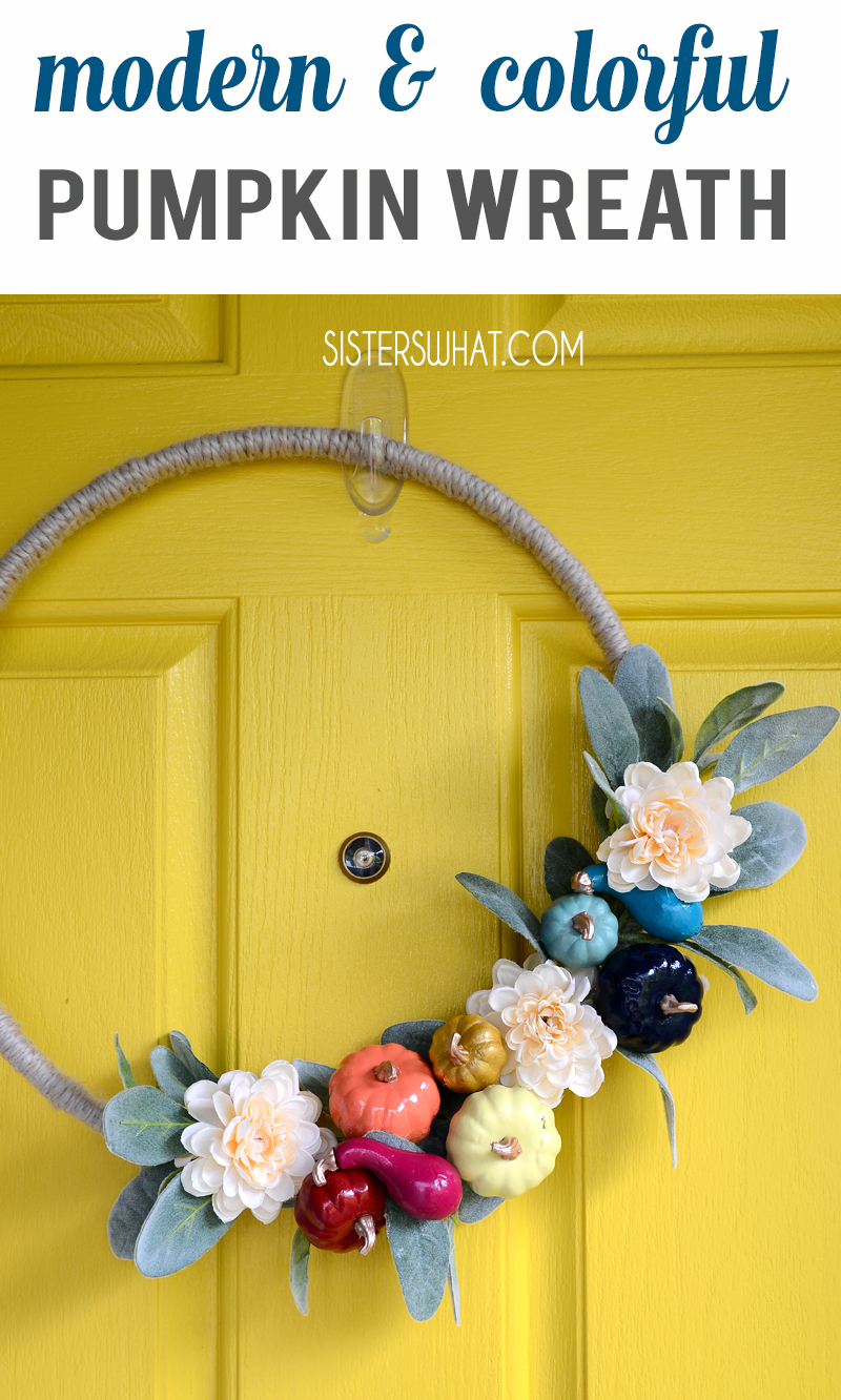 Modern Fall Wreath Decor Colorful pumpkin Wreath