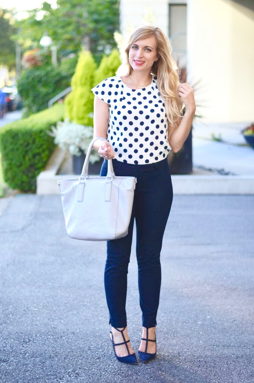 polka dot blouse for work