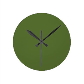 Olive green wall clock