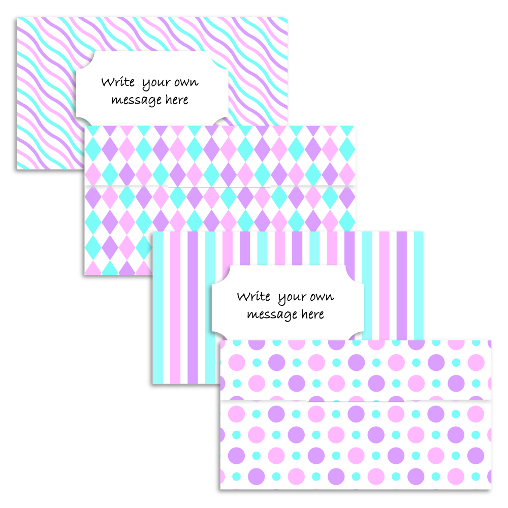 Set of four purple, pink and turquoise pattern money gift envelopes from A four Printables.