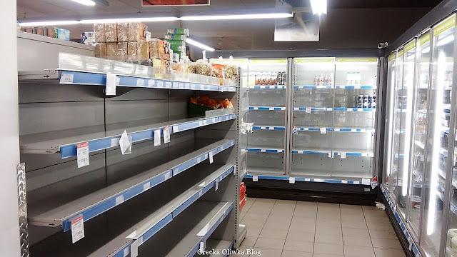 puste półki w marketach Mykons Grecja grudzień 2016