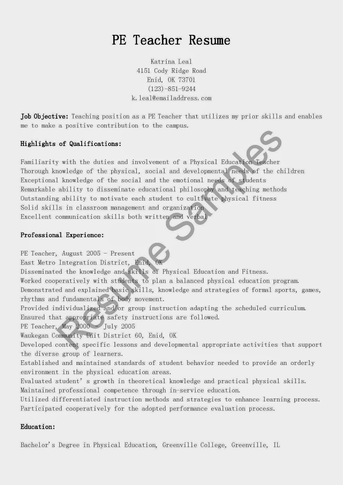 Resume Samples Pe Teacher Resume Sample