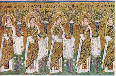 Τμήμα μωσαϊκού ναού του Αγίου Απολιναρίου του νέου στη Ραβέννα (526 μ.Χ)
