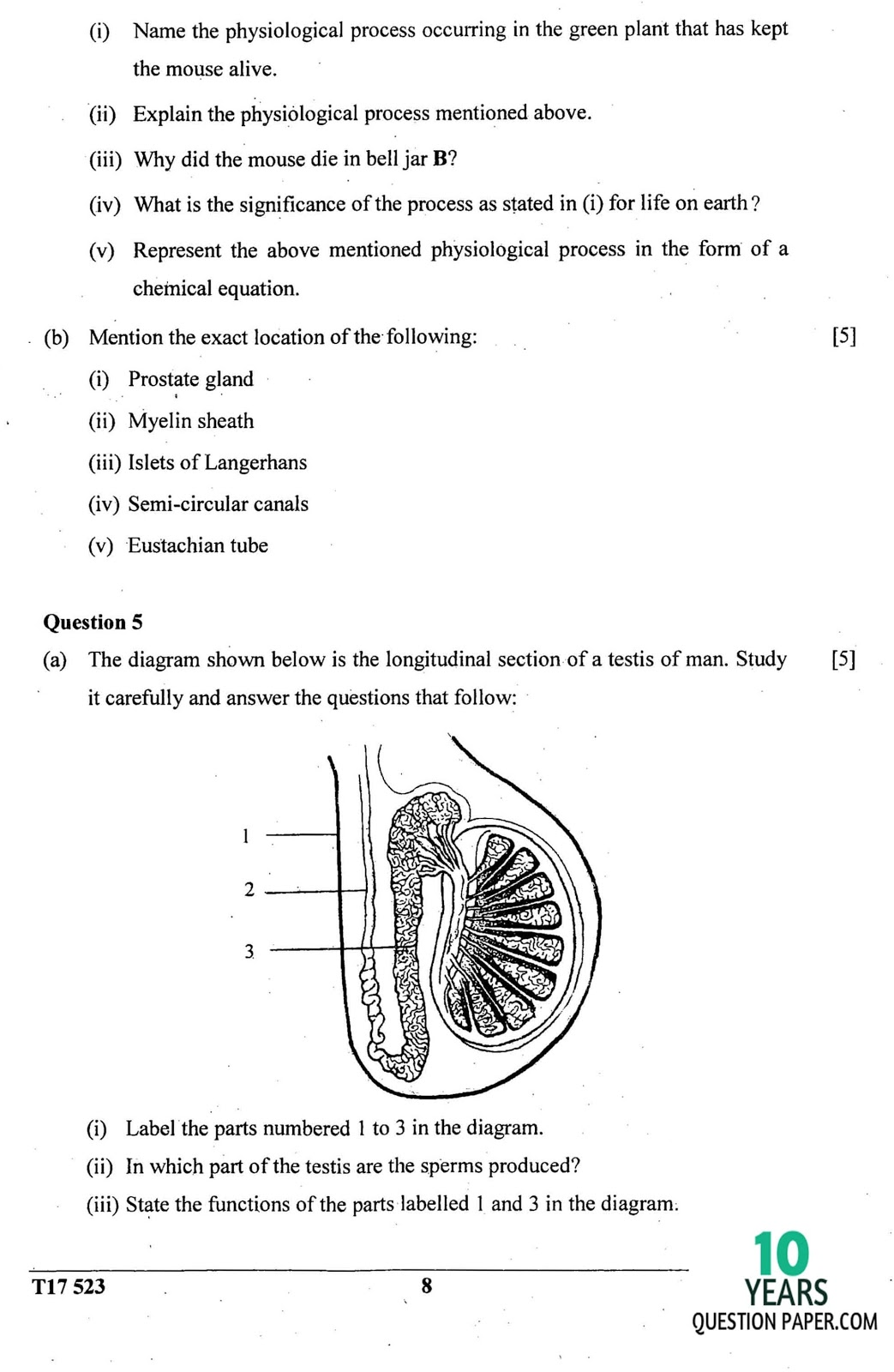 icse 2017 class 10th science Biology paper 3 question paper