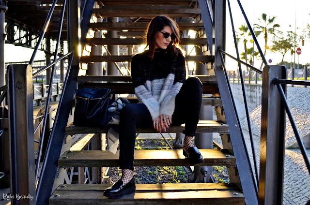 outfit look medias redecilla trendy monocromo stradivarius zara inditex fashion