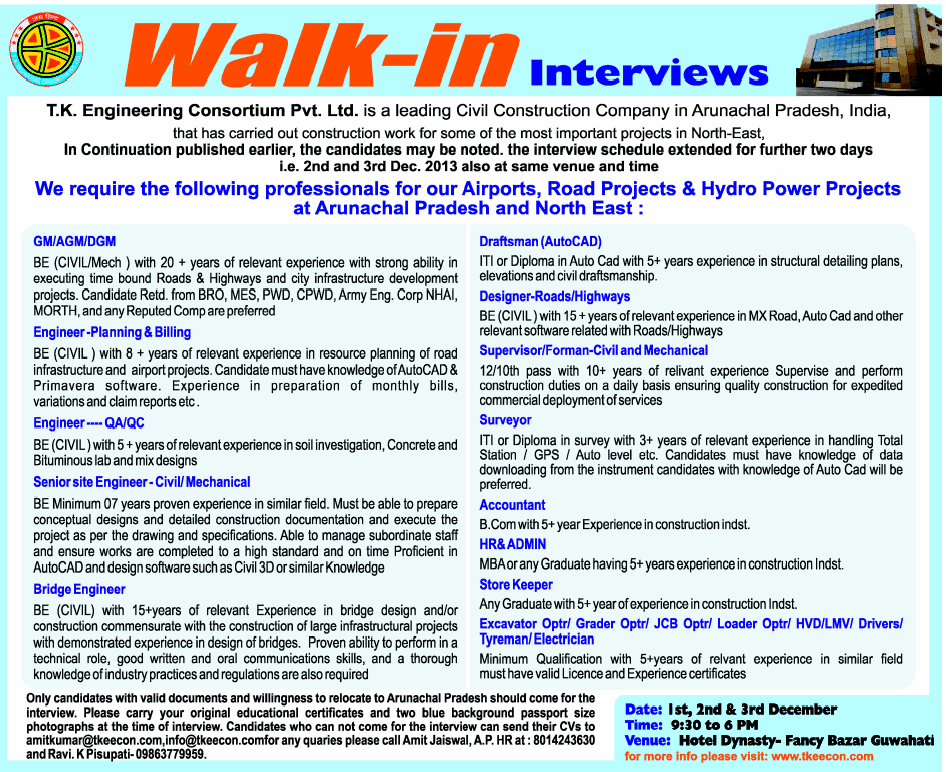 Walk In Interview For Engineering & Construction Company ...