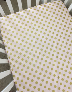 Crib Sheets ~ Light Pink with Gold Dots, Michael Miller Glitz blush baby girl nursery bedding chic sweet