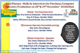 Walk in interview@Vital pharma for multiple positions on 28-29 December