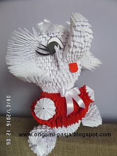 origami modułowe, słoń, papier, klej, biały, czerwony, prezent, roczek, urodziny