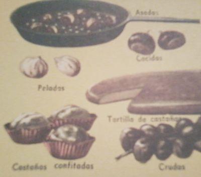 Castañas peladas, asadas, cocidas, en tortilla, confitadas y crudas.