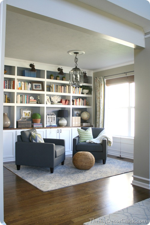 how to decorate built-in bookcases