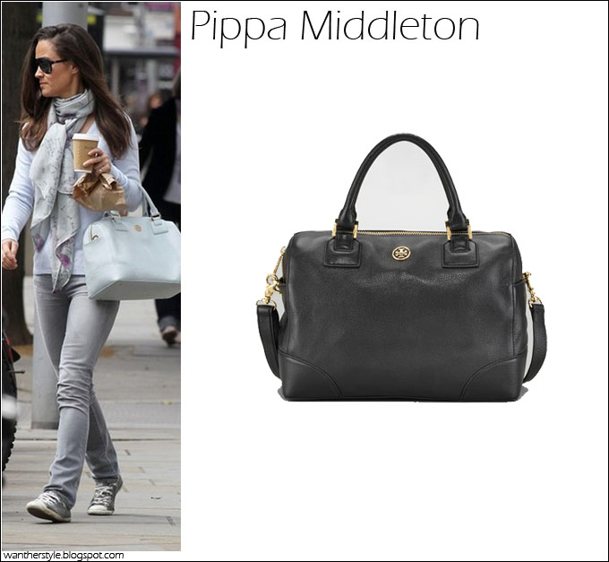 aaf47d7c8bf4 WHAT SHE WORE  grey Tory Burch Robinson Satchel BUY  Tory Burch Robinson  Satchel in black for  495 at CUSP at Bergdorf Goodman at NORDSTROM at  Neiman Marcus