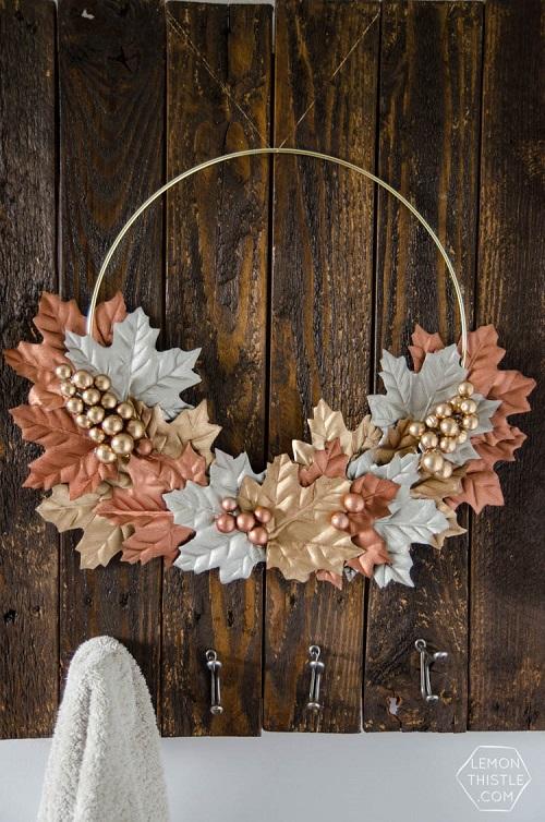 diy simple autumn metallic wreath