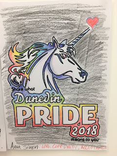 """A line drawing of a unicorn's head is colored in with pencil in rainbow colors. includes the words """"What does Dunedin Pride mean to you?"""""""