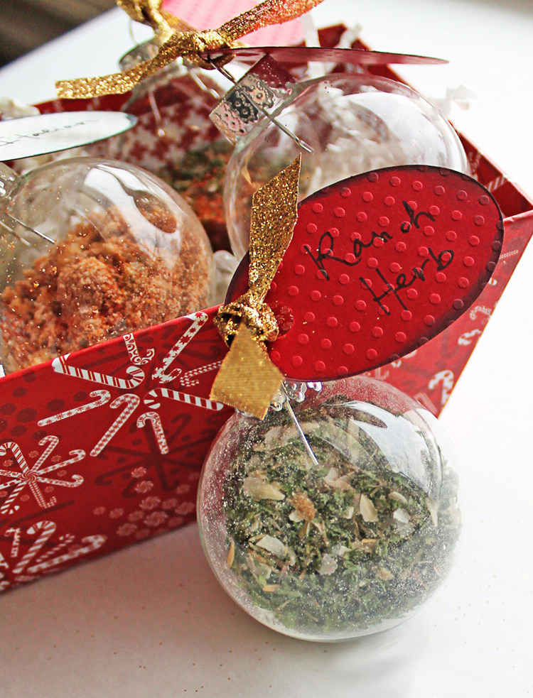Make custom herb mixes inside of glass ornaments to give to co-workers, neighbors and friends this Christmas.