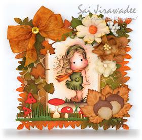 Magnolia Tilda in the Wind Autumn Card