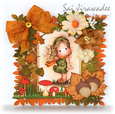 Magnolia Tilda in the Wind Autumn Card