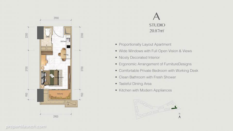 Denah Apartemen BSD Sky House Tipe Studio