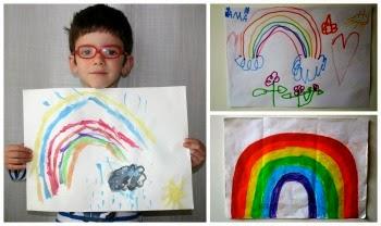 manualidad infantil dibujo arco iris