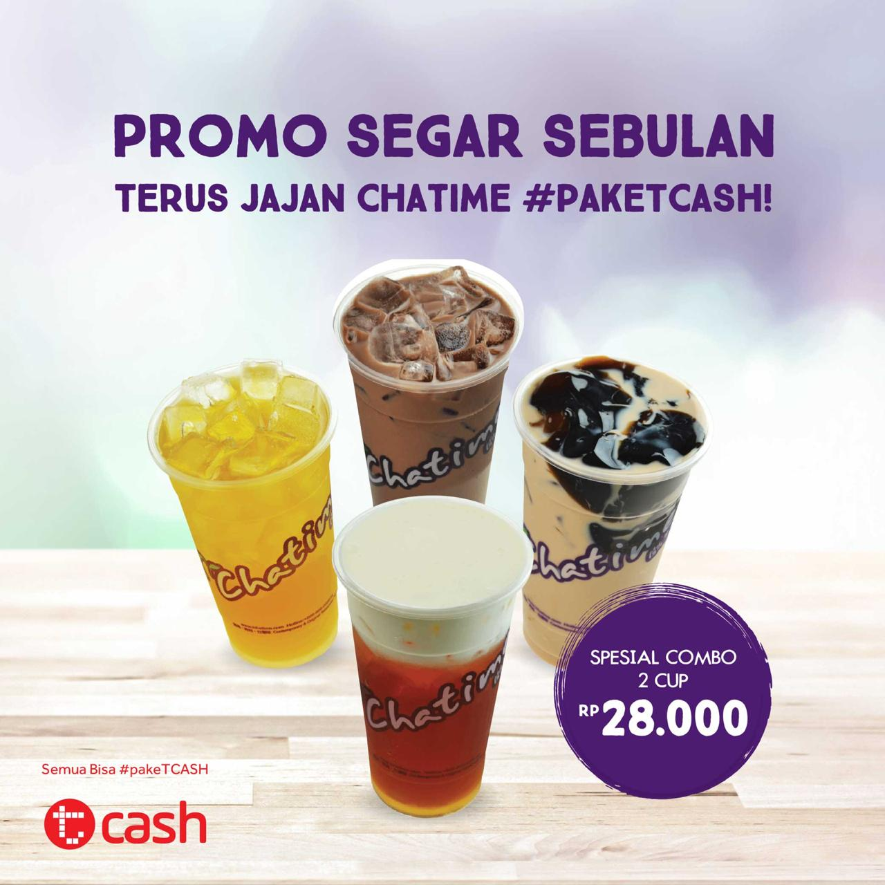 Chatime - Promo Segar Sebulan Pakai Tcash 2 Cup Cuma 26 Ribu (s.d 19 Okt 2018)