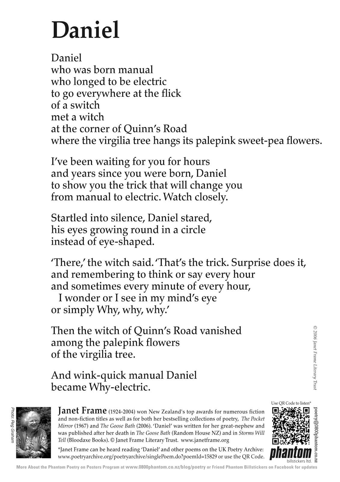 An Angel @ My Blog: Janet Frame\'s Phantom Billstickers Poem Posters