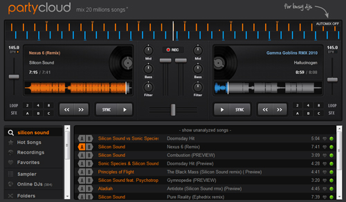 image of the party cloud online mixer interface