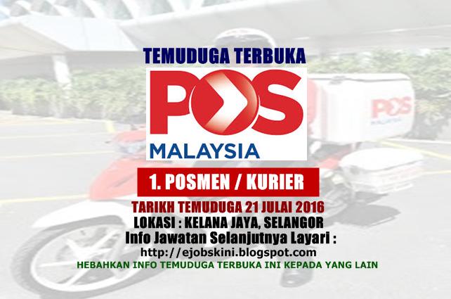 Temuduga Terbuka Sebagai Posmen Pos Malaysia Berhad