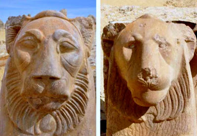 Two Ptolemaic lion statues found in Fayoum