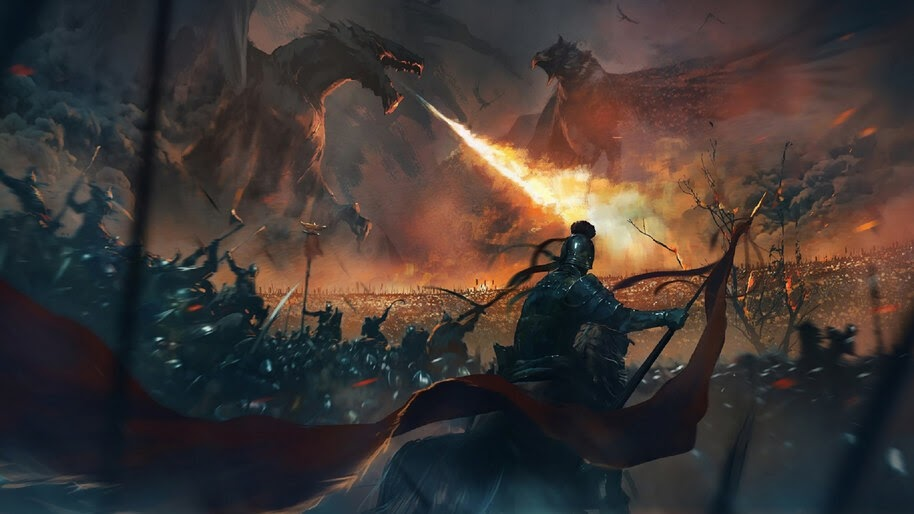 Dragon, Epic, Fantasy, Army, Battle, 4K, #4.1029