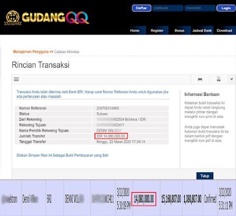 Selamat Kepada Member Setia GudangQQ WD sebesar Rp. 14,080,000.-