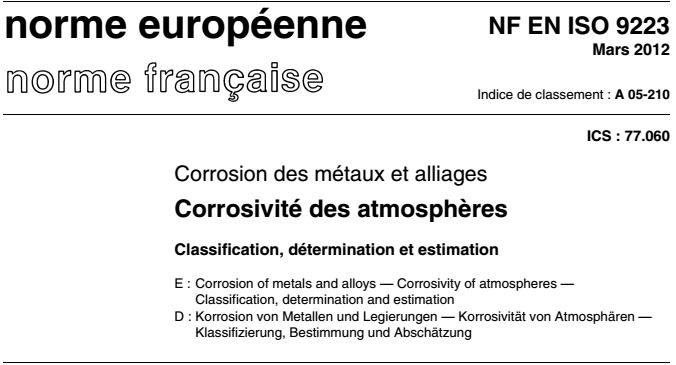 ISO 9223 Corrosion des métaux et alliages