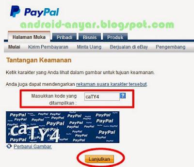 memasukkan kode tantangan keamanan PayPal