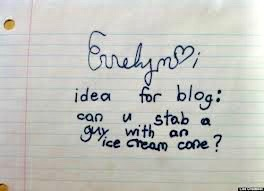 Idea for a blog. Can u stab a guy with an ice cream cone. I blogged your mom and other stories about something to say. Marchmatron.com