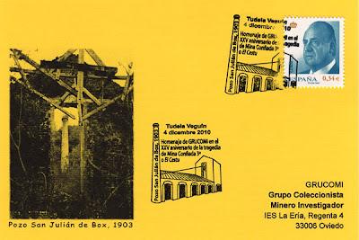 Tarjeta del matasellos de GRUCOMI en Tudela Veguín, minería, filatelia