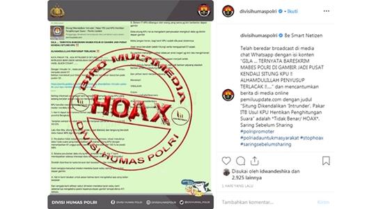 Polri Cari Penyebar Hoax Server Situng KPU Dikendalikan Bareskrim