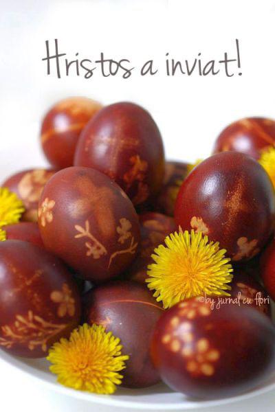 Hristos a inviat! imagine oua rosii vopsite in mod traditional cu coji de ceapa