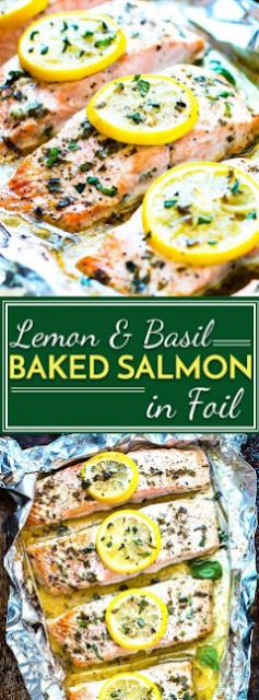Basil & Lemon Baked Salmon in Foil
