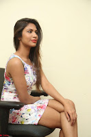 Nishi Ganda stunning cute in Flower Print short dress at Tick Tack Movie Press Meet March 2017 190.JPG